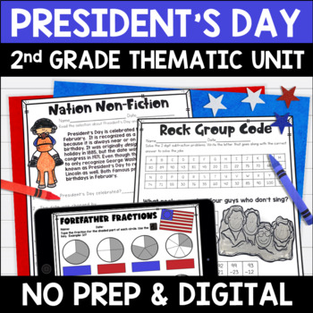 President's Day Literacy and Math No Prep Mini Unit for Se