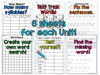 Second Grade Printable Phonics Worksheets Units 5 and 6