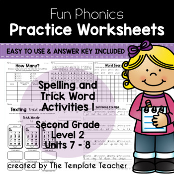 Second Grade Printable Phonics Worksheets Units 7 and 8