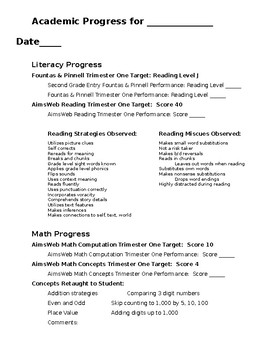 Second Grade Progress Report