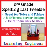 2nd Grade Spelling List for Second Grade Writing Center