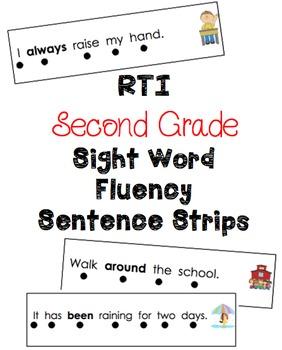 Second Grade RTI Sight Word Fluency Sentence Strips {46 Words}