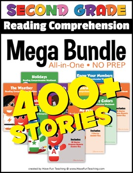 Second Grade Reading Comprehension NO-PREP ALL-IN-ONE MEGA BUNDLE (400+ STORIES)
