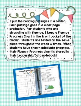 Second Grade Reading Fluency Passages & Progress Chart for Leadership Notebooks