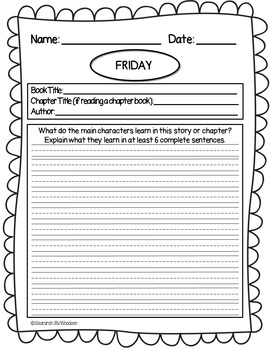 Second Grade Reading Journal - 3 Options