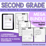 Second Grade Math, Reading, & Language Assessments MEGA BUNDLE