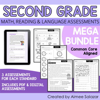 Second Grade Math, Reading, & Language Assessments MEGA BUNDLE