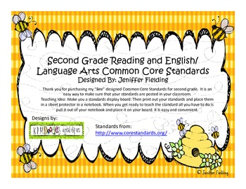 Second Grade Reading and Language Arts Common Core Standards (Bee Themed)