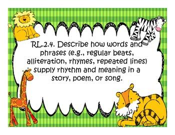 Second Grade Reading and Language Arts Common Core Standards (Safari Themed)