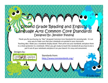 Second Grade Reading and Language Arts Common Core (Under The SeaThemed)