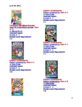 Second Grade Recommended Book List