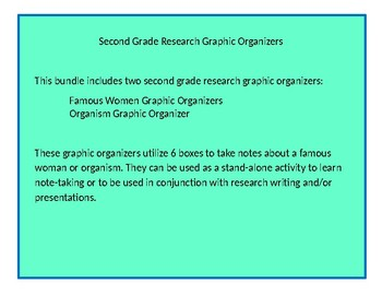 Second Grade Research Graphic Organizers