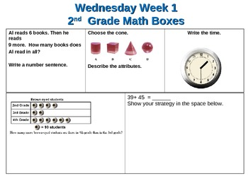 Second Grade Review Daily Math Boxes