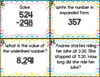 Second Grade Math Review Task Cards (set 1 of 5)