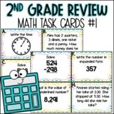 2nd Grade Math Spiral Review   Task Cards Set 1 of 5