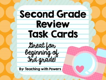 Second Grade Math Review Task Cards (Great for 3rd Grade Beginning of Year!)
