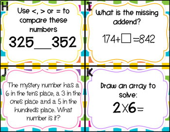 Second Grade Math Review Task Cards (set 3 of 5)