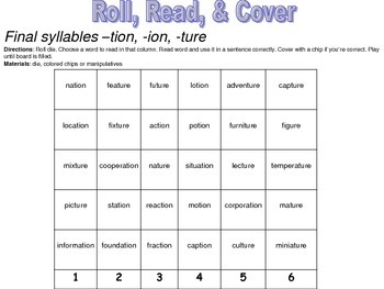 Second Grade Roll, Read, & Cover Games