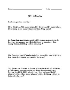 Second Grade SAT-10 Math Practice