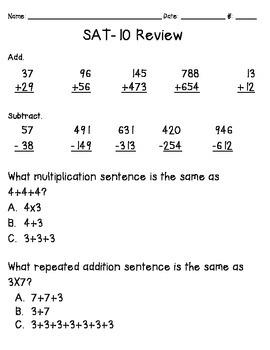 Second Grade SAT-10 Math Review