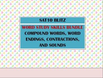 Second Grade SAT10 Prep Word Study BUNDLE - Contractions Compound Endings Sounds