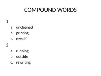 Second Grade SAT10 Test Preparation - Word Study Skills Compound Words