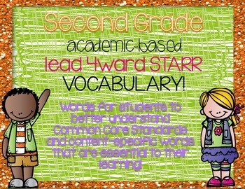Second Grade Academic Vocabulary Word Wall based on STARR B&W
