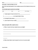 Second Grade Science Quiz- Essential Standard 2.E.1.1- Sun