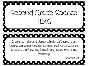 Second Grade Science TEKS~ Black and White Polka Dots