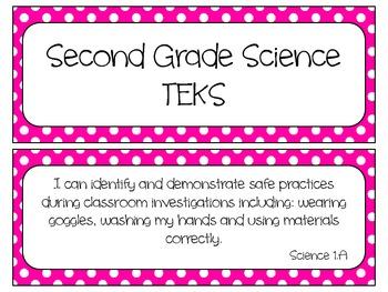 Second Grade Science TEKS~ Bright Pink Dots