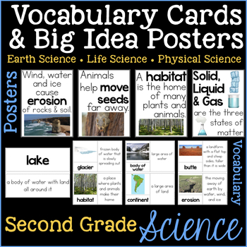 Second Grade Science Vocabulary Cards and Big Idea Posters