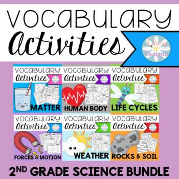 Second Grade Science Vocabulary GROWING BUNDLE