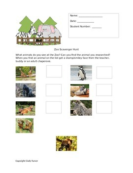 Second Grade Science Zoo Scavenger Hunt