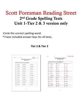 Scott Foresman Reading Street 2nd Grade U-1 Tier 2 & 3 Spelling Tests