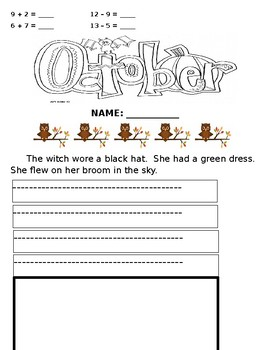 Second Grade Seatwork for Last Week of October
