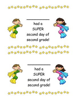 Second Grade Second Day of School Super Hero Certificates - 4 Kinds!