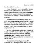 Second Grade Secret Santa Letter