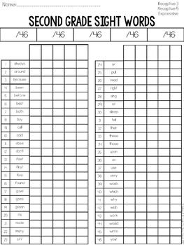 Second Grade Sight Word Assessment: Receptive & Expressive