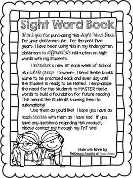 Second Grade Sight Word Book (Dolch)