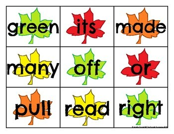Second Grade Sight Word Cards Autumn