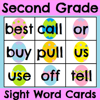 Second Grade Sight Word Cards Holiday Bundle
