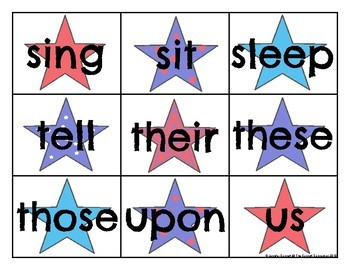 Second Grade Sight Word Cards Patriotic Theme