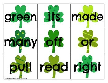 Second Grade Sight Word Cards Saint Patrick's Day