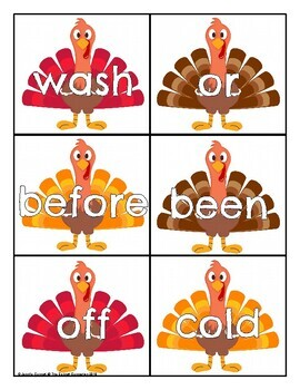 Second Grade Sight Word Cards Turkey Theme