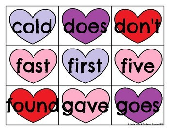 Second Grade Sight Word Cards Valentine's Day