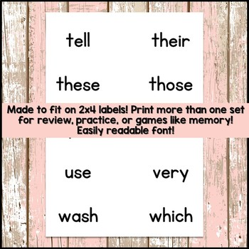 Second Grade Sight Word Cards and List FREEBIE