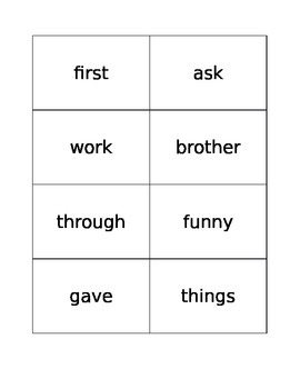 Second Grade Sight Word Flashcards