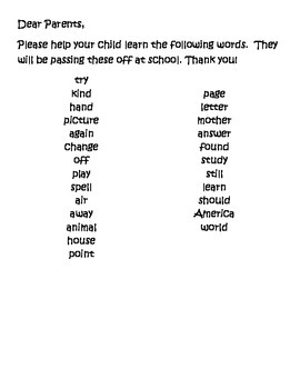 Second Grade Sight Word Homework