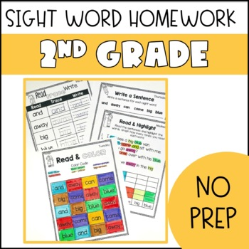 Second Grade Sight Word Homework