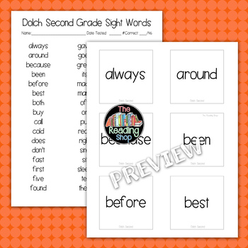 Dolch Second Grade Sight Word List and Word Cards
